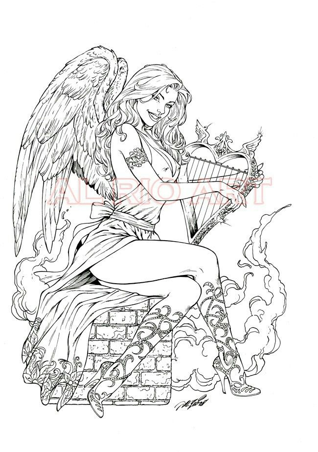 Adult sexy angel coloring pages to print